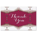 red white gold frilly lace thank you postcard