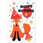Cute Happy birthday postcard with cute cartoon fox, balloon and colorful stars.