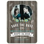 Save the Date Card - Blue Retro Rustic Wood Floral Photo