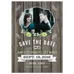 Save the Date Card - Green Retro Rustic Wood Floral Photo