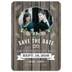 Save the Date Card - Purple Retro Rustic Wood Floral Photo