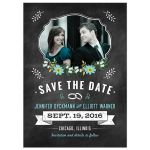 Save the Date Card - Blue Retro Chalkboard Floral Photo