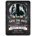 Save the Date Card - Pink Retro Chalkboard Floral Photo