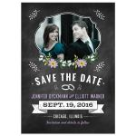 Save the Date Card - Purple Retro Chalkboard Floral Photo