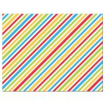 Colorful stripes, back of flat birthday notecard stationery.