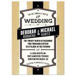 Wedding  Invitation - Retro Gold Glitter Stripes