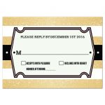 Wedding Reply Card - Retro Gold Glitter Stripes RSVP