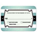 Wedding Reply Card - Retro Aqua Glitter Stripes RSVP
