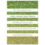 Sweet 16 Party Invitation - Green Gold Ombre Glitter Stripes