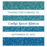 Sweet 16 Beverage Label - Turquoise Blue Ombre Glitter Stripes