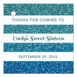 Sweet 16 Favor Tag - Turquoise Blue Ombre Glitter Stripes