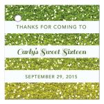 Sweet 16 Favor Tag - Green Yellow Ombre Glitter Stripes