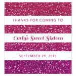 Sweet 16 Beverage Label - Purple Pink Ombre Glitter Stripes