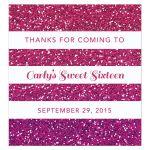 Sweet 16 Beverage Label - Purple Pink Ombre Glitter Stripes