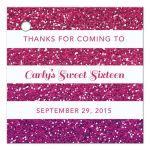 Sweet 16 Favor Tag - Purple Pink Ombre Glitter Stripes