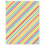 red, green, yellow and blue diagonal stripes. Back of colorful birthday party thank you note cards for children.