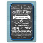 Trendy Chalkboard With Blue Frame Rehearsal Dinner Invitation