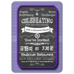 Trendy Chalkboard With Purple Frame Rehearsal Dinner Invitation