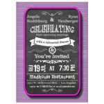 Trendy Chalkboard With Pink Frame Rehearsal Dinner Invitation