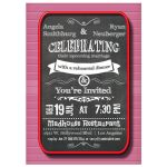 Trendy Chalkboard With Red Frame Rehearsal Dinner Invitation