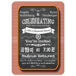 Trendy Chalkboard With Orange Frame Rehearsal Dinner Invitation