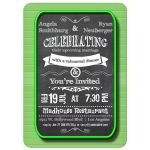 Trendy Chalkboard With Green Frame Rehearsal Dinner Invitation