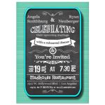 Trendy Chalkboard With Teal Frame Rehearsal Dinner Invitation