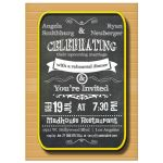 Trendy Chalkboard With Gold Frame Rehearsal Dinner Invitation