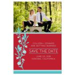 Red & Turquoise Modern Blossom Photo Save The Dates front