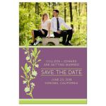 Purple & Green Modern Blossom Photo Save The Dates front