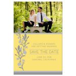 Yellow & Gray Modern Blossom Photo Save The Dates front