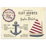 Cute Ship Ahoy Girl Or Boy Baby Shower Invitation