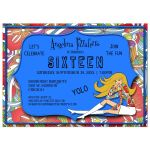 Funky Blue And Colorful Abstract Milestone Birthday Invitation