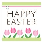 Cute spring tulips Happy Easter gift or favor tag