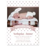 Pink Polka Dots Birth Announcements front