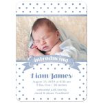 Blue Polka Dots Birth Announcements front