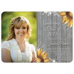 Rustic sunflower photo graduation party invite