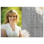 Rustic white daisy photo graduation party invite