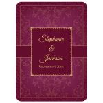 Raspberry and Gold Vintage Elegant Damask Wedding Invites