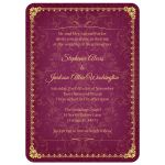 Raspberry and Gold Vintage Elegant Damask Wedding Invitations