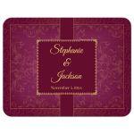 Raspberry and Gold Vintage Elegant Damask Wedding RSVP Flat Cards