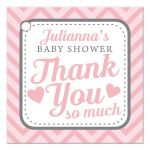 Pink & Gray Cute Chevron Baby Shower Thank You Favor Tags