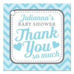 Blue & Gray Cute Chevron Baby Shower Thank You Favor Tags