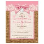 pink and ivory first communion invitation