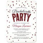 Red Glitter Look Confetti Bachelorette Party Invitations front