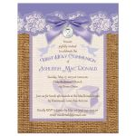 purple and ivory first holy communion invitation
