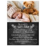 Invitation - Chalkboard Sip and See Photo Baby Announcement