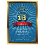 Sweet 16 Party Invitation - Retro Event Blue Burst