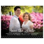 Calligraphy & Polka Dots Save The Date Photo Magnet