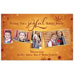 Bronze, burgundy, and gold elegant snowflake Christmas family photo card